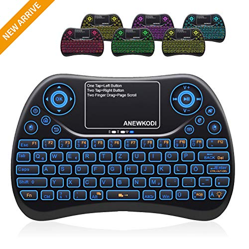 ANEWKODI Mini Tastatur Deutsch 2.4GHz Wireless 4 in 1 Keyboard Touchpad Mouse Combo/ 10 Meter Reichweite geeignet für Smart-TV, Android TV Box, HTPC, IPTV, XBOX360, PC, PAD, PS3, PC usw. (Tv-tastatur Wireless)