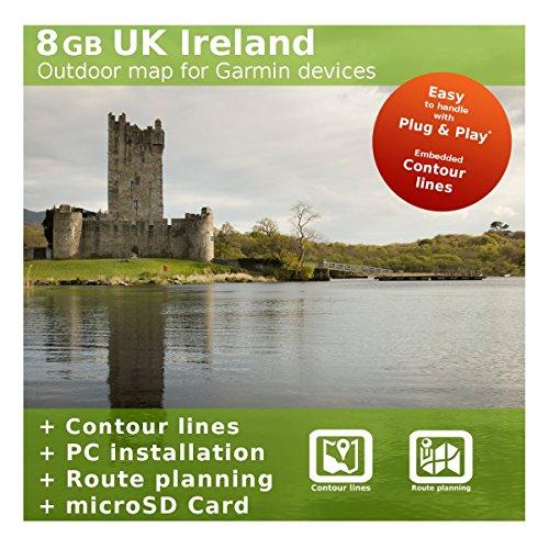 8GB Reino Unido gran Bretaña e Irlanda mapa–Compatible con Garmin Edge 605