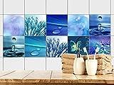 GRAZDesign 770361_15x15_FS20st Fliesenaufkleber Bad - Fliesen zum Aufkleben | Fliesen mit Fliesenbildern überkleben | selbstklebende Folie für Badezimmer | 10 Blaue Motive mit Wasser (15x15cm // Set 20 Stück)