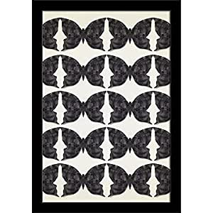 AZ Graphic Stylized Black Butterflies Paper Poster Black Frame with Glass 13.5 x 19.5inch
