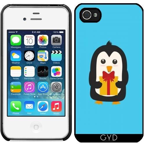 Leder Flip Case Tasche Hülle für Apple iPhone 4/4S - Pinguin Mit by ilovecotton Starre Kunststoff