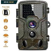 """Cámara de Caza BestoU 16MP 1080P HD Trail Cámara con Visión Nocturna Impermeable IP56 con PIR Infrarrojo Sensor de Movimiento 46 Pcs IR LEDs de 2.4"""" LCD con 32G Tarjeta Micro SD"""