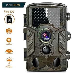 HD Fotocamera da caccia 16MP 1080P Infrarossi Scouting Camera con Infrarossi Visione Notturna 82ft 125° Impermeabile IP56 Schermo LCD 2.4 46pcs IR LED con scheda microSD da 32GB (Fotocamera da caccia da sd card 32 gb)
