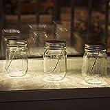 Gadgy ® Solarglas Einmachglas Set | 3 Stück mit 5 LED's | Warmweiß Licht | Solar Glas Lampe Außen Garten Laterne