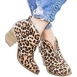 Botas de Mujer Leopardo Botas Martin de Tacón Medio Suela Gruesa con Cremallera Apuntado Botines Otoño Invierno Botas Antideslizante Botines EU 35-42