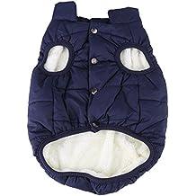 Filfeel Cappotto Cane, giacca calda morbido peluche giacca cucciolo autunno e inverno abito costume maglione(XL-Navy Blue)