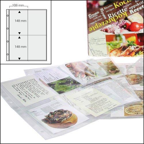 100x SAFE Koch ricette/back ricette buste DIN A4Nr. 5474-100-con 4tasche DIN A6-110x 150mm-può ospitare fino a 800ricette-Uni foratura sersal, trasparenti, prive di plasticizzanti vetro trasparente-trasparente-senza plastificanti -