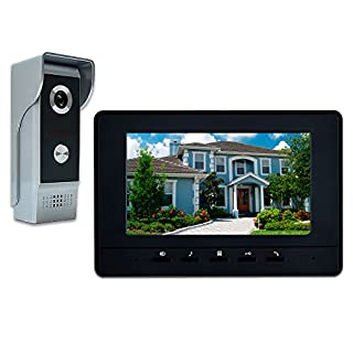 'amocam Video Doorbell Phone, 7 Video Intercom Monitor Doorphone System, Wired Video Door Phone HD Camera Kits Halterung Unlock, Monitoring, dual-way Intercom for Villa House Office Apartment