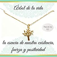 Colgante Árbol de la Vida de Plata de Ley chapado en Oro amarillo | Collar con mensaje | Regalos especiales | Joyas originales | Envío gratis