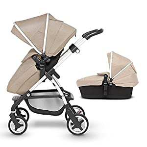 Silver Cross Wayfarer Pushchair and Carrycot, Linen Cosatto Includes - Pushchair, Carrycot, Port Car seat, adaptors and Raincover All round suspension Suitable from birth carrycot and Car seat 9