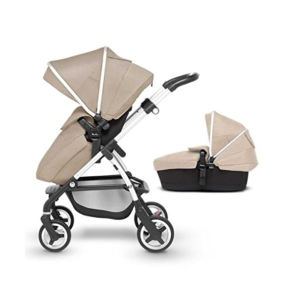 Silver Cross Wayfarer Pushchair and Carrycot, Linen Silver Cross A complete Pram system that includes everything you need from birth to toddler Includes a lie-flat Carrycot for your new born that is suitable for overnight sleeping Includes a fully, reversible Pushchair seat unit, suitable up to 25kg 1