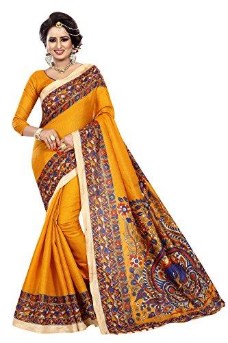 Perfectblue Women's cotton Silk Saree With Blouse Piece (GoldKalamKaran)