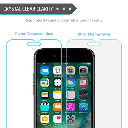 Tukzer Apple iPhone 6 / 6S Premium 2.5D Curved Edge Perfect Cut 0.25mm Ultra-Thin HD Crystal Clear Tempered Glass For Apple iPhone 6 /iPhone 6S.