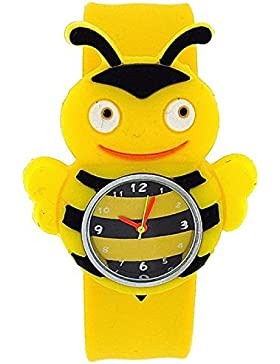 TOC BBS001 Kinderarmbanduhr 'Biene' mit schwarz-gelb gestreiftem Ziffernblatt