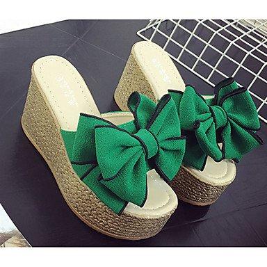Zormey Damen Hausschuhe &Amp; Flip-Flops Sandalen Komfort Stoff Sommer Lässig Zu Fuß Bowknot Flachem Absatz Schwarz Beige Grün 2-In-2 3/4 In US8 / EU39 / UK6 / CN39