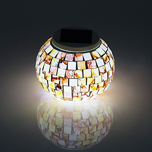 Bestland Lámpara Solar Con Mosaico Colorida Lámpara De Mesita De Noche Lampara De Sobremesa Para Salón, Jardín, Habitación, Terraza, Comedor (Glaze)