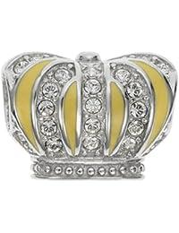 Plata de Ley rodio Royal King Crown claro cúbicos Circonita Cristal Estilo Europeo Dangle Bead Charm