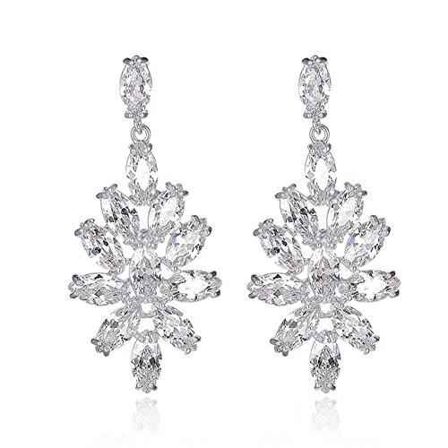 HYHAN Lady sposa di lusso della moda orecchini scintillanti temperamento aristocratico gioielli orecchini zircone , white