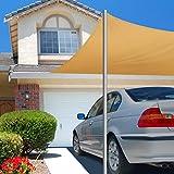 KING DO WAY Sonnensegel Sonnenschutz Windschutz UV-Strahlen Beschattung Garten Terrasse Camping 3,6x3,6x5,1m Dreieck,Sonnenschutz, Schattierung, Windwiderstand, Kühlung Sand 3.6 * 3.6 * 5.1m