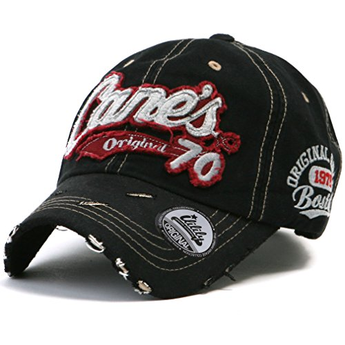 ililily Distressed Vintage Cotton embroidered Baseball Cap Snapback Trucker Hut (ballcap-507-4)