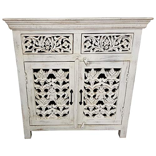 Indoortrend.com Commode en Bois Massif Style Shabby Chic 3 tiroirs Blanc