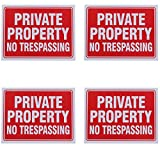 Private Property No Trespassing Sign 22,9 x 30,5 cm - 4 Pack, plastik, weiß, Einzelpackung