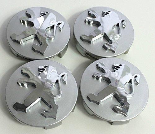 Lot de 4 cache-moyeux Peugeot de 60 mm - Couleur argent - Chromé