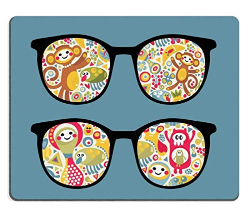 Mouse Pad Natural Rubber Mousepad Retro Eyeglasses with Strange Creatures Reflection in it Image ID 12957479 250mm*300mm