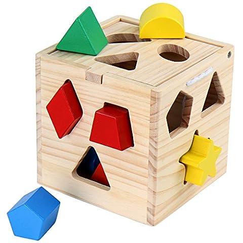 Buntes Steckspielzeug 13-teilig aus Holz Holzspielzeug Lernspielzeug für Kleinkinder