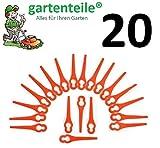 20 Kunststoffmesser Passend für Einhell Akku Rasentrimmer BG-CT 18 Li, RG-CT 18/1, GE-CT 18 Li