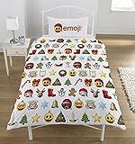 Emoji Parure de Lit 1Personne en Polyester/Coton avec Motif de Noël