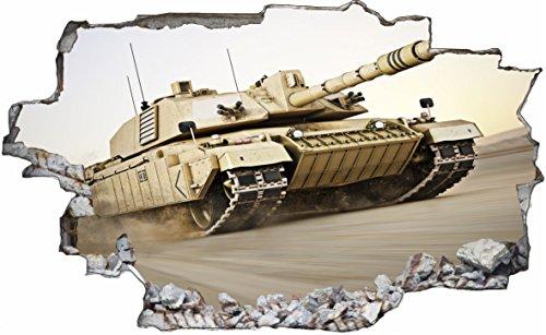 DesFoli Panzer Tank Kampf Krieg Militär 3D Look Wandtattoo 70 x 115 cm Wand Durchbruch Wandbild Sticker Aufkleber C206
