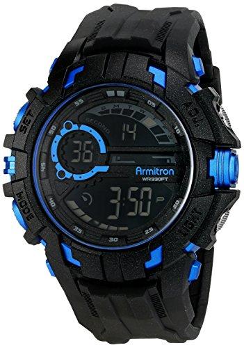 armitron-sport-da-uomo-40-8335blu-blue-cubica-cronografo-digital-in-resina-nera-orologio-da