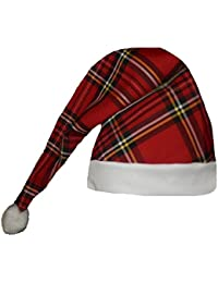 Adults Red Royal Stuart Tartan Wee Willy Winky Night Cap Hat With White Pom