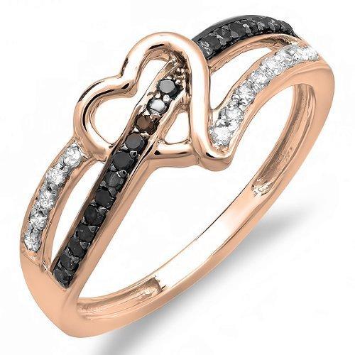 Damen Ring / Verlobungsring Diamant 0.20 Karat 14 Karat Rotgold Rund Schwarz und Weiß Diamant Herz Love 1/5 Karat