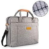 DOB SECHS 13-14 Zoll Laptoptasche Aktentaschen Handtasche Tragetasche Schulter Tasche Notebooktasche Laptop Sleeve Laptop hülle für bis zu 14 Zoll Laptop Dell Alienware/MacBook/Lenovo/HP, Grau