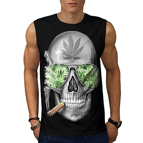 Skeleton Smoke Weed Men L Sleeveless T-shirt | Wellcoda
