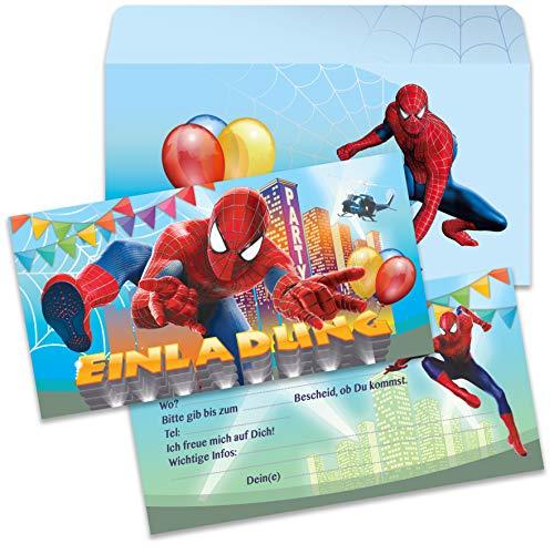 Spider Spiderman Kinder Jungen Einladung Karten Einladungen Einladungskarten mit Umschlag (6 Karten + 6 Umschlägen)