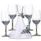 HUIHUAN Verres à vin Rouge en Cristal rétro, Ensemble de Verres en Verre Clair de 5, Tasses sans Plomb, Verres à Boire de soirée élégante, va au Lave-Vaisselle