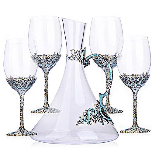 HUIHUAN Retro Kristall Rotweingläser Set von 5 , Crystal Clear Star Glas, bleifreie Tassen, Elegante Party-Trinkgläser, spülmaschinenfest Crystal Sauvignon Blanc