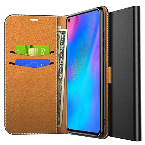 Yocktec Hülle für Huawei P30 Lite 2019, Ultra Slim Premium PU Leder Flip Wallet Tasche mit Kartenfach und Ständer für Huawei P30 Lite 2019 Smartphone (Schwarz)