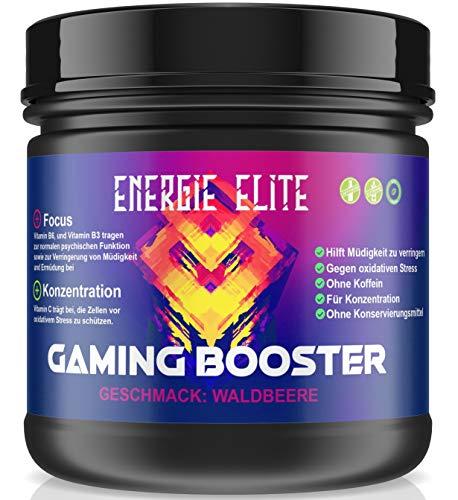 GAMING BOOSTER von Energie Elite 500g Dose - Play at a Level up - Energy drink für volle Konzentration - Vegan - Ohne Koffein - Ohne Konservierungsmittel - Waldbeere