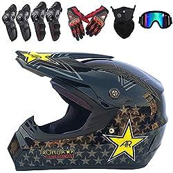 PKFG Full Face Casques Motocross Homme Set, ET-54 Casque de Moto Tout-Terrain Protection avec Gants Masque Lunettes Genouillères Coudières pour Protection de La Sécurité, Noir Brillant,M(54~55CM)