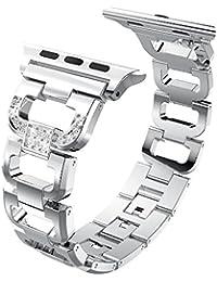 [Tipo D] Correa de reloj de Apple 38 mm y 42 mm de correa, XIHAMA brillante brillante con purpurina cristal diamantes de imitación correa de reloj pulsera de repuesto de acero inoxidable accesorios de metal para Apple Smart Watch Series 1, 2, 3