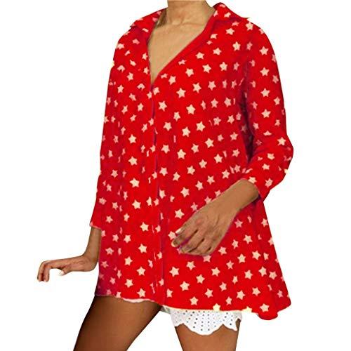 LOPILY Oberteile Damen Stern Muster Bluse Button Down Tunika Langarm Shirts Damen Sommer Herbst Lockere Tshirts mit Sternchen Freizeit Bluse Casual Freizeit Bluse Damen V-Neck Bluse (Rot, 34) -