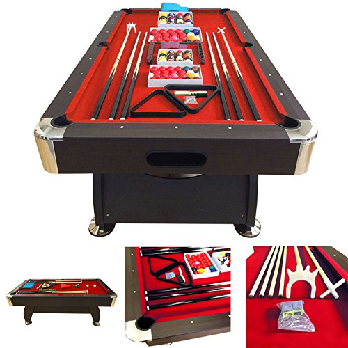 TAVOLO DA BILIARDO 8 piedi - Misura di gioco 220 x 110 cm + ACCESSORI PER CARAMBOLA - SNOOKER ROSSO billiard table Modello RED FIRE