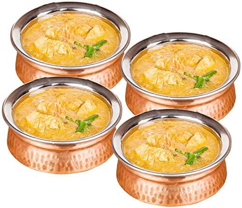 Bol de fuente de acero inoxidable de cobre de 700 ml utilizados como tazón de cereal, cuenco de arroz, cuenco de fideos, tazón de helado, conjunto de 4, estilo martillado, 15 cm