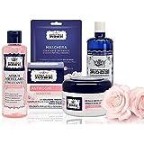 Acqua alle Rose, Kit Skin Care Routine Sensitive, Set di Bellezza Per La Pelle Sensibile con Acqua Micellare, Tonico, Dischet