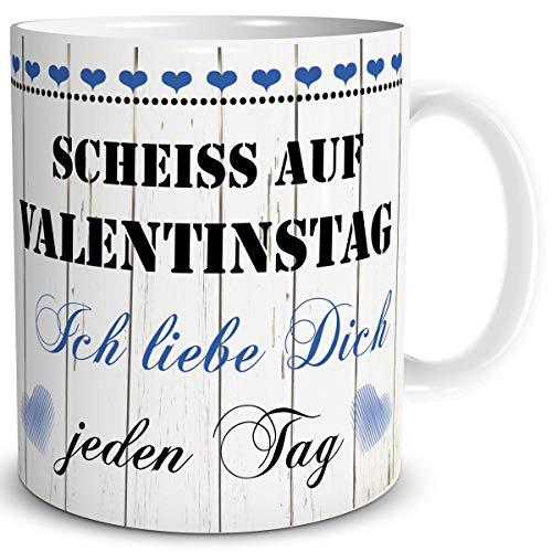 TRIOSK Tasse mit Spruch lustig Scheiß auf Valentinstag Ich Liebe Dich jeden Tag Liebestassen Valentin Geschenk für Ihn Sie verliebte Paare Blau