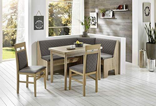 Schlawo Truhen-Eckbankgruppe Diex - Eiche Sonoma Dekor - 2 Stühle 1Tisch ausziehbar - Bezug grau - variabel aufbaubar (Stühle Essecke Tisch Esszimmer)